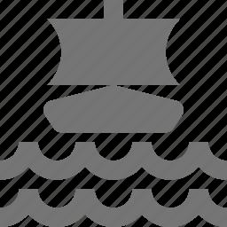 boat, sail, ship, transportation, waves icon