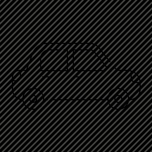 car, familycar, on road, thin, transport, travel, vehicle icon