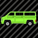 camper, van, outline, transport