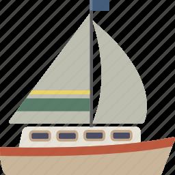 boat, sail, sail boat, sailboat, yacht icon
