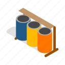 bin, can, garbage, isometric, pollution, trash, waste icon