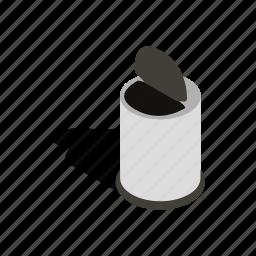 bin, can, garbage, isometric, pedal, rubbish, trash icon