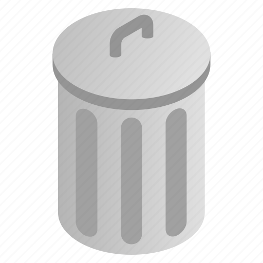 bin, can, garbage, grey, isometric, rubbish, trash icon