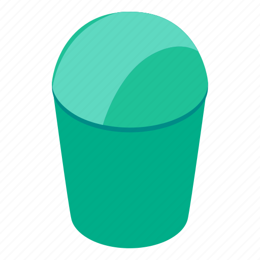 bucket, can, garbage, isometric, plastic, rubbish, trash icon