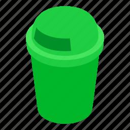 bin, can, garbage, green, isometric, rubbish, trash icon