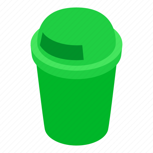 bin, can, garbage, green, isometric, rubbish, trash icon