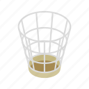 basket, container, garbage, isometric, mesh, rubbish, trash