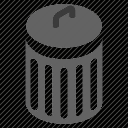 basket, bin, can, garbage, isometric, rubbish, trash icon