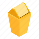 bucket, can, garbage, isometric, plastic, rubbish, trash icon