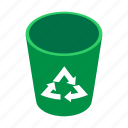 environment, garbage, green, isometric, plastic, recycle, trash icon