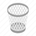 basket, can, garbage, isometric, mesh, rubbish, trash