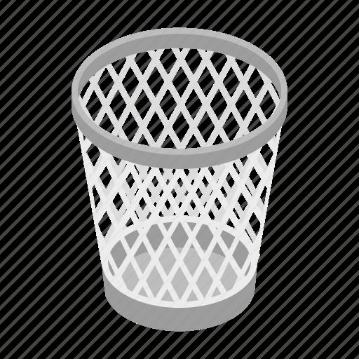 basket, can, garbage, isometric, mesh, rubbish, trash icon