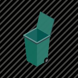 bin, container, garbage, isometric, street, trash, wheel icon