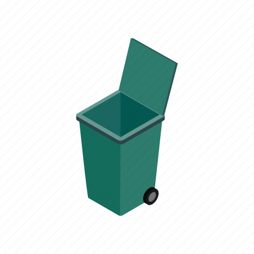 bin, container, garbage, isometric, street, trash, wheel icon