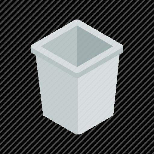bin, can, garbage, isometric, rubbish, steel, trash icon