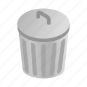 bin, can, garbage, grey, isometric, rubbish, trash icon