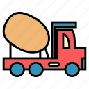 cement, concrete miner, delivery, public, transport, truck, vehical icon