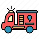 delivery, extinguisher, fire engine, fire truck, public, transport, vehical icon