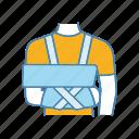 injury, trauma, arm, broken, shoulder, bandage, immobilizer icon