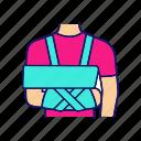 bandage, broken, arm, shoulder, injury, immobilizer, trauma icon