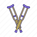 axillary, crutches, disability, disabled, injury, trauma, underarm icon