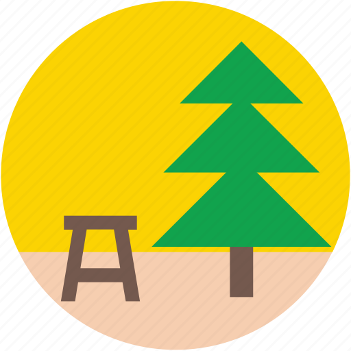 fir tree, garden, park, park bench, pine tree icon