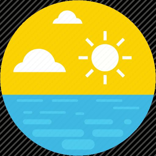 beach, clouds, sea, sun, sunny day icon