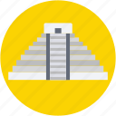 famous places, landmark, maya pyramid, mexico, monument icon