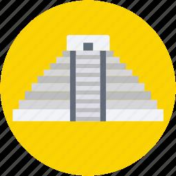 famous places, landmark, maya pyramid, mexico, monument icon