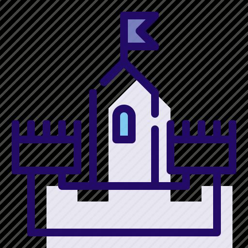 building, castle, flag icon