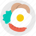 dish, fried egg, plate, restaurant, sausage icon