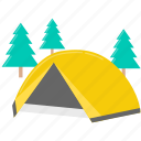 camping, holiday, nature, tent, tree, vacation icon