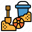 beach, bucket, child, sand, summer, tools, toy icon