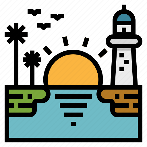 landscape, lighthouse, romantic, sea, sunrise, sunset, travel icon