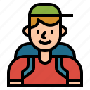 hiker, holidays, man, people, rambler, tourist, traveler icon