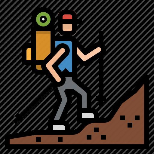 hiking, holidays, mountain, sports, traveller, trekking, walking icon