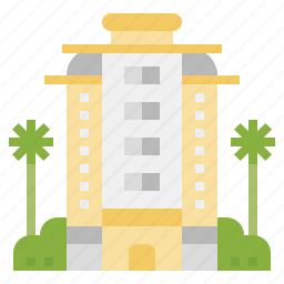 architecture, buildings, holidays, hotel, resort, trip, vacations icon