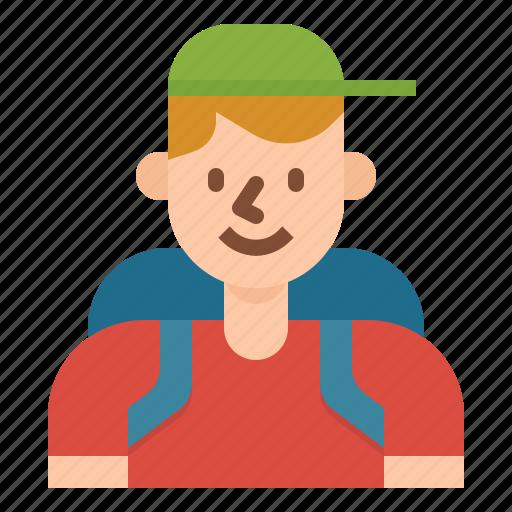 hiker, holidays, man, people, rambler, tourist, traveler icon