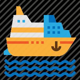 cruise, cruiser, ship, travel icon
