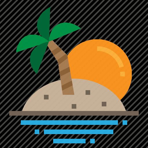 beach, island, landscape, sun icon