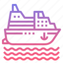cruise, cruiser, ship, travel icon