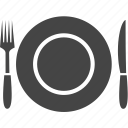 food, fork, knife, plate, tableware, travel icon