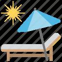 canvas bed., seashore, sun tanning, sunbath, vacation on beach icon