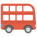 double decker bus, huge vehicle., mass transport, passenger bus, travelling, travelling vehicle icon