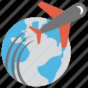 holiday plan, international travel, long vacation, travel around globe, world tour icon