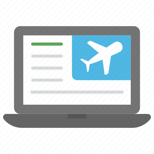 e-ticketing, flight reservation, online booking, ticket reservation, travelling site icon