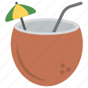 beach drink, coconut drink, coconut milk, healthy drink, summer drink icon