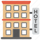 check inn, hotel building, lodge, luxury hotel, rest house icon