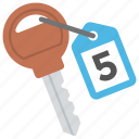 hotel accommodation, hotel room key, number key, room number, room service icon