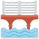 holiday picnic, oversea bridge, sea port, summer vacation, water transport icon